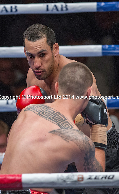 Australian Aaron Lai fights Nik (The Greek) Charalampous at the Hydr8 Zero Heavyweight Explosion, Vodafone Events Centre, Auckland, New Zealand, Saturday, July 05, 2014. Photo: David Rowland/Photosport