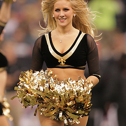 2008 December, 07: New Orleans Saints Saintsations cheerleaders perform during a quarter break of a 29-25 victory by the New Orleans Saints over NFC South divisional rivals the Atlanta Falcons at the Louisiana Superdome in New Orleans, LA.