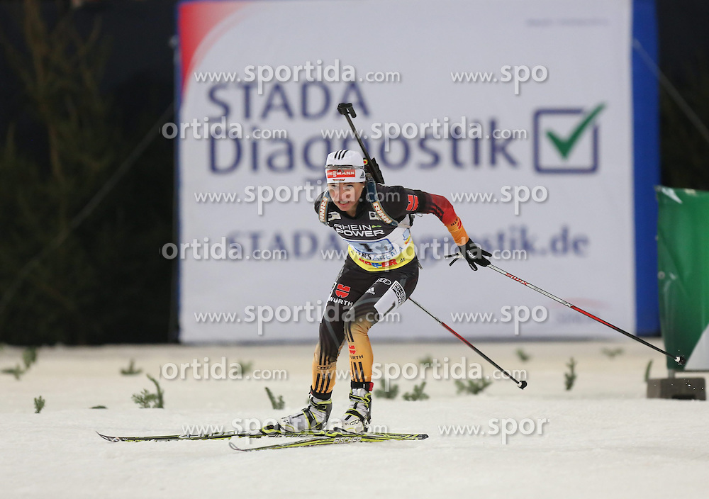28.12.2013, Veltins Arena, Gelsenkirchen, GER, IBU Biathlon, Biathlon World Team Challenge 2013, im Bild Andrea Henkel (Deutschland / Germany) // during the IBU Biathlon World Team Challenge 2013 at the Veltins Arena in Gelsenkirchen, Germany on 2013/12/28. EXPA Pictures &copy; 2013, PhotoCredit: EXPA/ Eibner-Pressefoto/ Schueler<br /> <br /> *****ATTENTION - OUT of GER*****