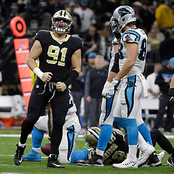 Jan 7, 2018; New Orleans, LA, USA; New Orleans Saints defensive end Trey Hendrickson (91) reacts after a defensive stop against the Carolina Panthers during the second quarter in the NFC Wild Card playoff football game at Mercedes-Benz Superdome. Mandatory Credit: Derick E. Hingle-USA TODAY Sports