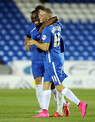 Marcus Maddison (right) of Peterborough United celebrates scoring the second goal with team-mate Gabriel Zakuani - Mandatory byline: Joe Dent/JMP - 07966386802 - 11/08/2015 - FOOTBALL - ABAX Stadium -Peterborough,England - Peterborough United v Crawley Town - Capital One Cup