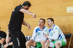 Veselin Vujovic head coach of Slovenia with Zarabec Miha and Grebenc Jan of Slovenia during friendly match between Slovenia and Montenegro in Skofja Loka, Slovenia on 8th of June, 2017 .Photo by Grega Valancic / Sportida