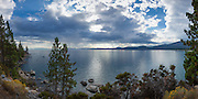 Lake Tahoe from Nevada's Lake Tahoe State Park panorama (3:1 proportion) photographed in multi-image sequence to produce extremely large hi-res file sizes for wall murals up to 30 ft x 10 ft.