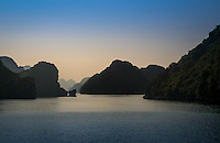 HA LONG BAY, VIETNAM - CIRCA SEPTEMBER 2014:  Sunset in Halong Bay, Vietnam