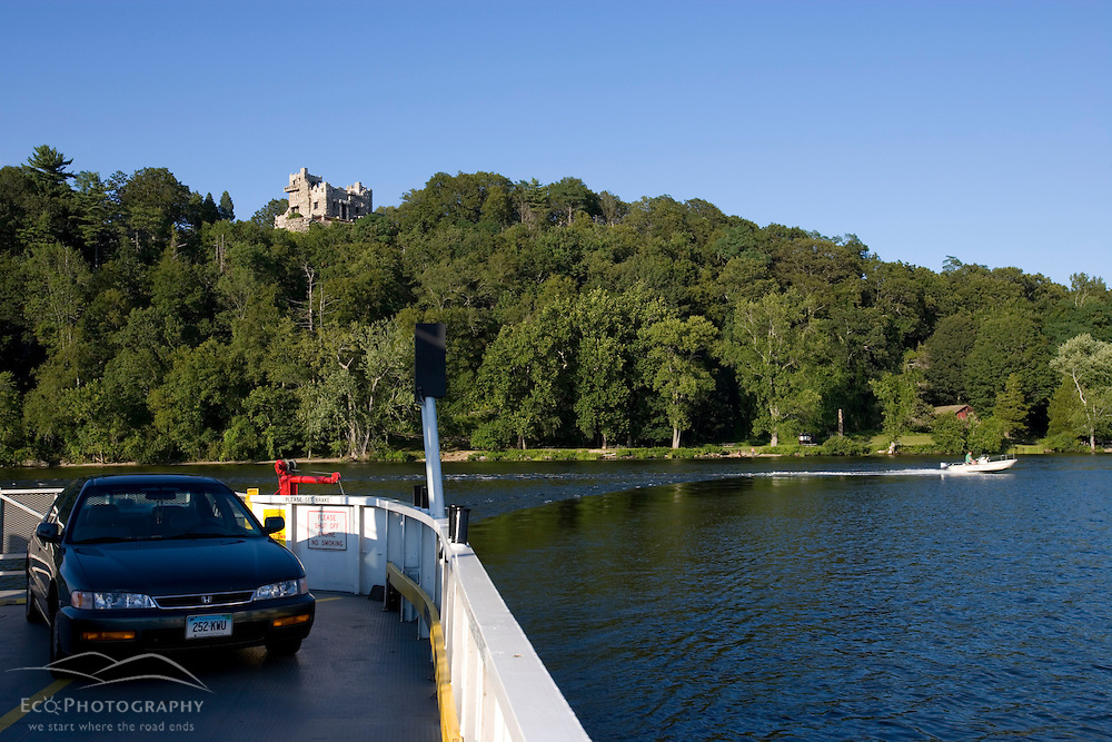 A car on deck on the Connecticut River ferry between Hadlyme to Chester, Connecticut.