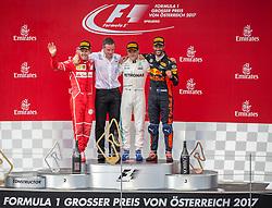09.07.2017, Red Bull Ring, Spielberg, AUT, FIA, Formel 1, Grosser Preis von Österreich, Rennen, im Bild v.l.: 2. Platz Sebastian Vettel (GER) Scuderia Ferrari, 1. Platz Valtteri Bottas (FIN) Mercedes AMG Petronas F1 Team, 3. Platz Daniel Ricciardo (AUS) Red Bull Racing // f.l.: 2nd placed German Formula One driver Sebastian Vettel of Scuderia Ferrari Winner Finnish Formula One driver Valtteri Bottas of Mercedes AMG Petronas F1 3nd placed Australian Formula One drive Daniel Ricciardo of Red Bull Racing during the Race of the Austrian FIA Formula One Grand Prix at the Red Bull Ring in Spielberg, Austria on 2017/07/09. EXPA Pictures © 2017, PhotoCredit: EXPA/ Dominik Angerer