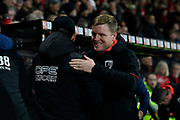 AFC Bournemouth manager Eddie Howe embraces Huddersfield Town manager David Wagner before the Premier League match between Bournemouth and Huddersfield Town at the Vitality Stadium, Bournemouth, England on 4 December 2018.