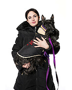 "Tamara Lazarus and her Scottish Terrier named ""Honey"""