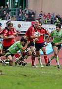 Paul O'Connell attacks for Munster. Montauban v Munster,  Heineken Cup Pool A match in Montauban, France.