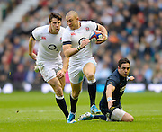 Twickenham, United Kingdom,  Mike BROWN , supported by Joel TOMPKINS, during the  2013 QBE Autumn, Rugby International, England vs Argentina, RFU Stadium Twickenham, on Saturday  09/11/2013 <br /> England. [Mandatory Credit: Peter Spurrier/Intersport<br /> Images]