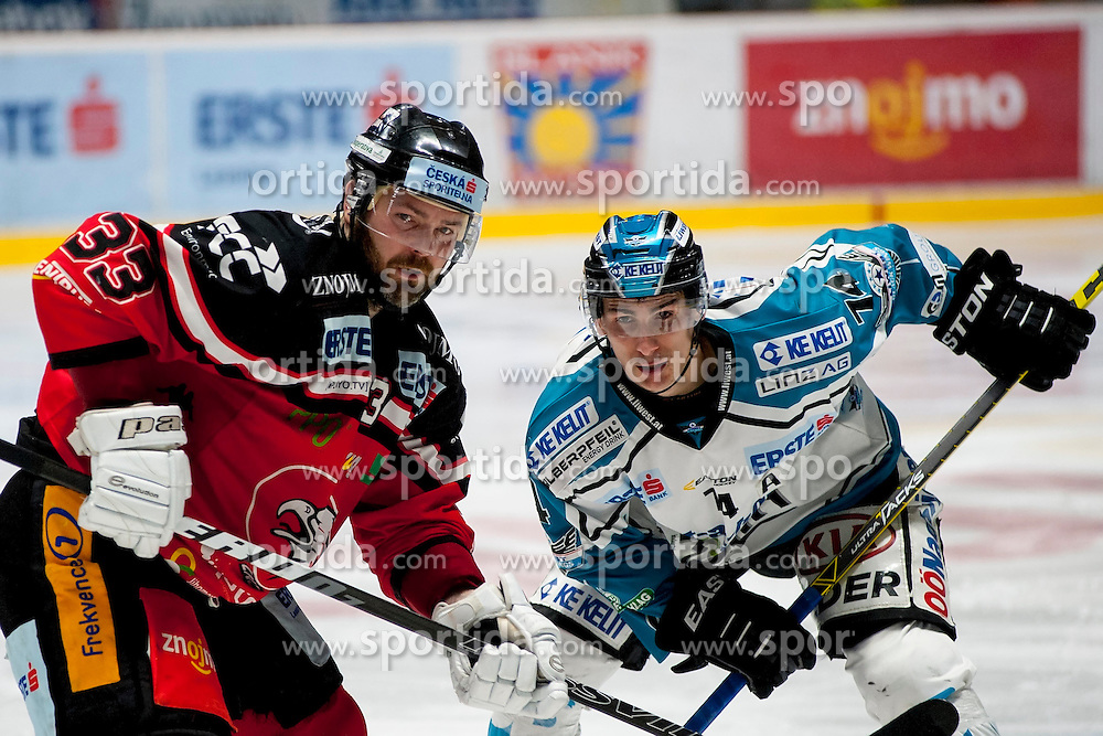 13.03.2016, Ice Rink, Znojmo, CZE, EBEL, HC Orli Znojmo vs EHC Liwest Black Wings Linz, Halbfinale, 1. Spiel, im Bild v.l. Peter Pucher (HC Orli Znojmo), Daniel Oberkofler (Linz) // during the Erste Bank Icehockey League 1st semifinal match between HC Orli Znojmo and EHC Liwest Black Wings Linz at the Ice Rink in Znojmo, Czech Republic on 2016/03/13. EXPA Pictures © 2016, PhotoCredit: EXPA/ Rostislav Pfeffer