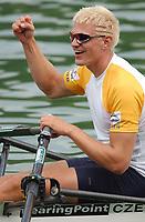 Ondrej Synek (CZE) gewinnt den Skiff-Final auf dem Rotsee und den Gesamtweltcup. © Raphael Nadler/EQ Images