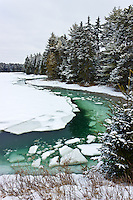 Tidal Ice Flows clog Strawberry Creek during the winter, Harpswell, Maine