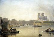 Notre Dame', watercolour by Frederick Nash (1782-1856) English painter.  View across the River Seine towards the east end of the Cathedral of Notre Dame, Paris, with barges and rowing boats in the foreground.