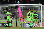 Forest Green Rovers goalkeeper James Montgomery tips a header over the bar during the EFL Sky Bet League 2 match between Forest Green Rovers and Lincoln City at the New Lawn, Forest Green, United Kingdom on 2 March 2019.