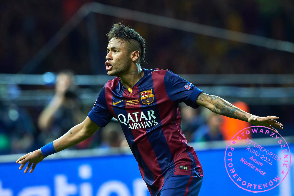 Neymar of FC Barcelona celebrates after scoring during the 2014/15 UEFA Champions League Final between Juventus and FC Barcelona at Olympiastadion on June 6, 2015 in Berlin, Germany.<br /> Germany, Berlin, June 6, 2015<br /> <br /> Picture also available in RAW (NEF) or TIFF format on special request.<br /> <br /> For editorial use only. Any commercial or promotional use requires permission.<br /> <br /> Adam Nurkiewicz declares that he has no rights to the image of people at the photographs of his authorship.<br /> <br /> Mandatory credit:<br /> Photo by &copy; Adam Nurkiewicz / Mediasport