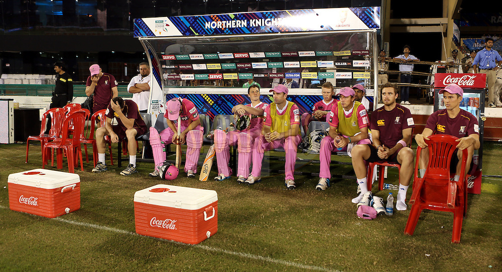 Players of Northern Knights in dugout during match 3 of the Oppo Champions League Twenty20 between the Cape Cobras and the Northern Knights held at the Chhattisgarh International Cricket Stadium, Raipur, India on the 19th September 2014<br /> <br /> Photo by:  Sandeep Shetty / Sportzpics/ CLT20<br /> <br /> <br /> Image use is subject to the terms and conditions as laid out by the BCCI/ CLT20.  The terms and conditions can be downloaded here:<br /> <br /> http://sportzpics.photoshelter.com/gallery/CLT20-Image-Terms-and-Conditions-2014/G0000IfNJn535VPU/C0000QhhKadWcjYs