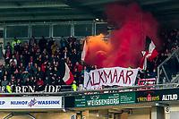 ALMELO - 14-04-2017, Heracles  Almelo - AZ, AFAS Stadion, 1-2, supporters AZ, sfeer, spandoek, vuurwerk