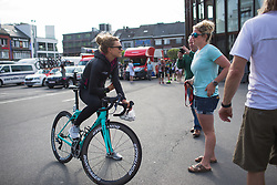 Tayler Wiles (USA) of Trek-Drops Cycling Team chats to a friend before Liege-Bastogne-Liege - a 136 km road race, between Bastogne and Ans on April 22, 2018, in Wallonia, Belgium. (Photo by Balint Hamvas/Velofocus.com)