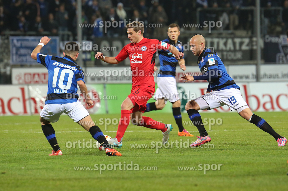 18.12.2015, Volksbank Stadion, Frankfurt, GER, 2. FBL, FSV Frankfurt vs DSC Arminia Bielefeld, 19. Runde, im Bild Besar Halimi (FSV Frankfurt), Tom Sch?tz, Schuetz (Bielefeld), Dani Schahin (FSV Frankfurt) // during the 2nd German Bundesliga 19th round match between FSV Frankfurt and DSC Arminia Bielefeld at the Volksbank Stadion in Frankfurt, Germany on 2015/12/18. EXPA Pictures &copy; 2015, PhotoCredit: EXPA/ Eibner-Pressefoto/ RRZ<br /> <br /> *****ATTENTION - OUT of GER*****
