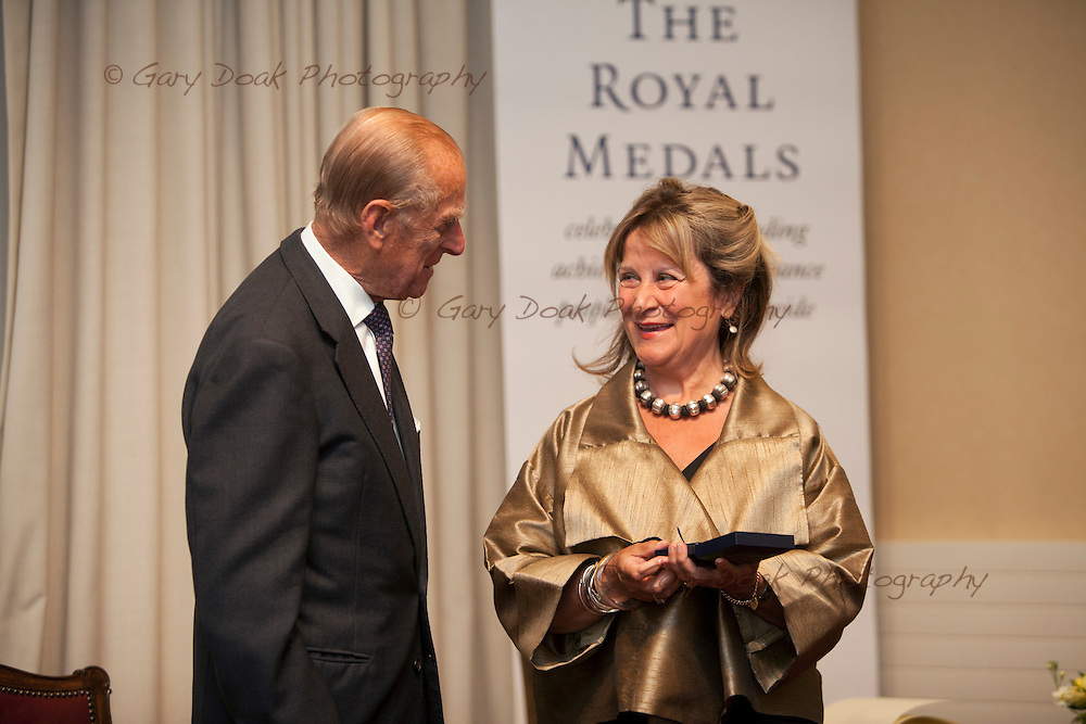 Royal Medals presentation by HRH The Duke of Edinburgh at The Royal Society of Edinburgh..Baroness Helena Kennedy of the Shaws QC receives her Royal Medal from HRH The Duke of Edinburgh.