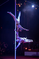 Leosvel Almeida Gutierrez 7 Diosmani Aguero perform on the pole act with Cirque des Voix at the 2017 Smithsonian Folklife Festival on the National Mall, in Washington, D.C.