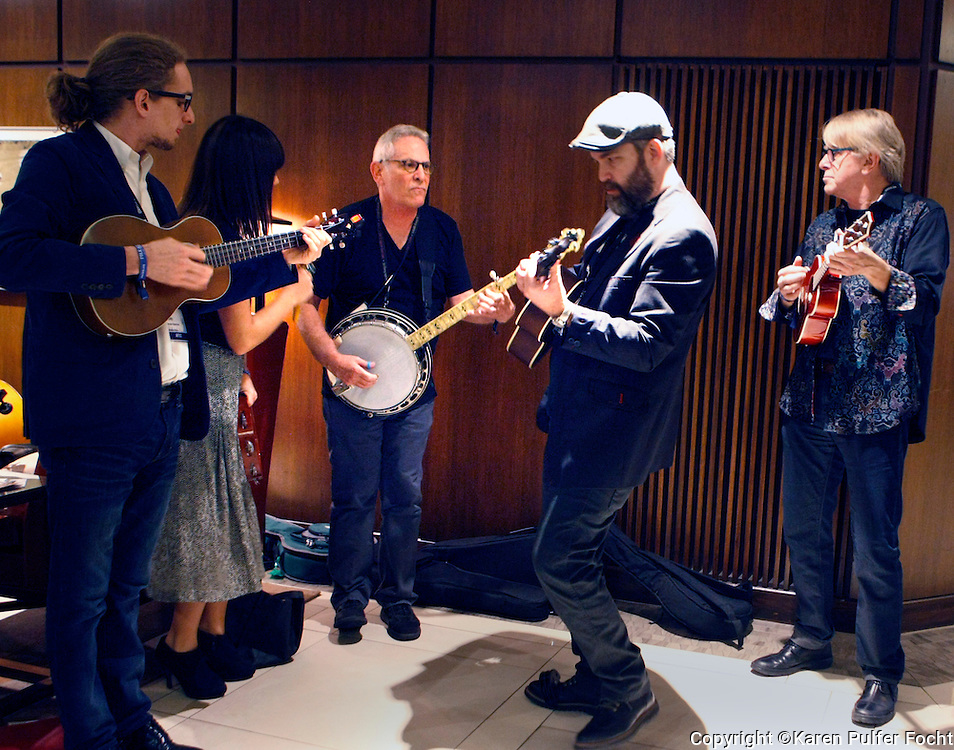 Louis Meyers, (Banjo) jams with the Memphis Ukulele Band during the 2016 Folk Alliance International Conference in Kansas City, February 20th, 2016. Meyers, who died suddenly from what was believed to be a heart attack, was the former director of Folk Alliance International and one of the founders of the South by Southwest music and media conference.