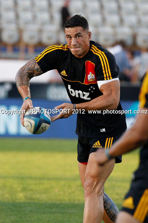 Sonny Bill Williams warming up before  their game at Baypark Stadium, Mt Maunganui, New Zealand. Friday,16 March 2012. Photo: Dion Mellow/photosport.co.nz