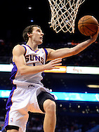 Nov. 09, 2012; Phoenix, AZ, USA; Phoenix Suns guard Goran Dragic (1) lays up the ball against the Cleveland Cavaliers during the second half at US Airways Center. The Suns defeated the Cavaliers 107-105. Mandatory Credit: Jennifer Stewart-US PRESSWIRE
