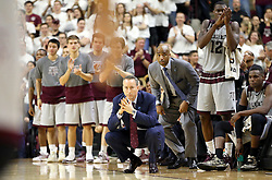 Texas A&M's head coach Billy Kennedy watches his team against Vanderbilt during the second half of an NCAA college basketball game, Saturday, March 5, 2016, in College Station, Texas. Texas A&M won 76-67. (AP Photo/Sam Craft)