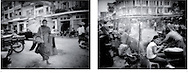 L:  Bonze making morning rounds for alms, Phnom Penh, Cambodia...R:  Girl having dinner in market, Phnom Penh, Cambodia.