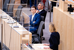 23.09.2020, Hofburg, Wien, AUT, Parlament, Sitzung des Nationalrates mit Aktueller Stunde der Gruenen, Europastunde, COVID-19 Massnahmengesetz, Sonderbetreuungszeit, Bildungsbonus, Kreditstundungen, Klimaschutz und weitere Corona-Hilfen, im Bild v. l. Sebastian Kurz (OeVP), Karl Nehammer (OeVP), Beate Meinl-Resinger (NEOS) // during meeting of the National Council with Current Hour of the Greens, European Hour, COVID-19 measures law, special care time, education bonus, credit deferrals, climate protection and other corona aids at the Hofburg palace in Vienna, Austria on 2020/09/23, EXPA Pictures © 2020, PhotoCredit: EXPA/ Florian Schroetter