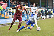 Bury Forward, Ryan Lowe goes down under a challange during the Sky Bet League 1 match between Bury and Bradford City at the JD Stadium, Bury, England on 5 March 2016. Photo by Mark Pollitt.