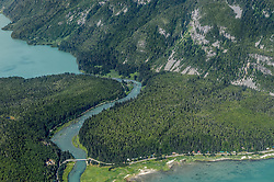 The Chilkoot River corridor between Chilkoot Lake (upper left) and Lutak Inlet of the Lynn Canal (bottom right) is a popular sport fishing spot and a culturally important Tlingit historic site. The river area is also popular with grizzly bears who also come for the salmon who spawn in the Chilkoot River. While this concentration of bears makes for exciting bear viewing for visitors, the narrow corridor in which humans and bears must pass can lead to dangerous encounters. The Alaska Legislature has approved $1 million for a bear-viewing platform aimed at reducing encounters between bears and visitors to the scenic corridor. This area is part of the popular Chilkoot Lake State Recreation Site. In the upper reaches of the Chilkoot River Valley (not pictured) there have been proposals to dam the outlet of Connelly Lake, a high alpine lake above the Chilkoot River, for a hydroelectric project. Environmental concerns include the impact construction and project operation would have on fish spawning and rearing habitat (water turbidity issues), and bald eagles. Alaska Power and Telephone announced in June 2013 that it was putting the project on hold citing difficulty securing funding from the Alaska Energy Authority and the lack of community support. Despite these setbacks AP&T says that it not abandoning pursuing the project. In early September 2013, the Haines Borough announced that it was exploring possibly filing for a preliminary permit now that the project was no longer being pursued by AP&T.