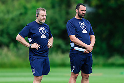 Mark Irish and Jonathan Thomas look on during week 1 of Bristol Bears pre-season training ahead of the 19/20 Gallagher Premiership season - Rogan/JMP - 03/07/2019 - RUGBY UNION - Clifton Rugby Club - Bristol, England.