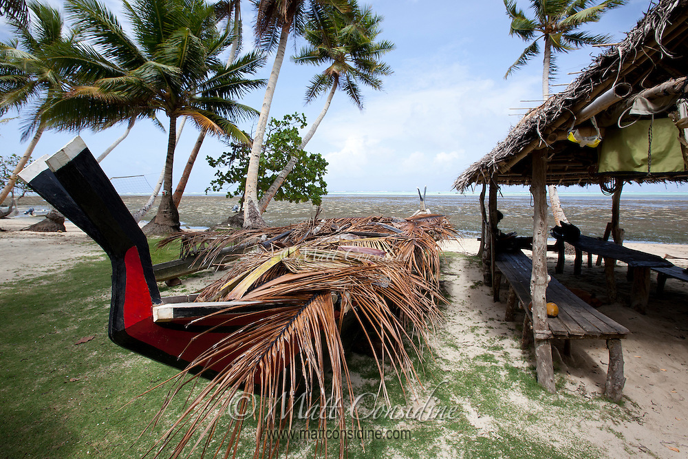 Traditional hand carved canoe, Yap.  The fork or V shape at the bow of the boat is used to point at a star as an aid to navigation between the far flung islands. Yap Micronesia (Photo by Matt Considine - Images of Asia Collection)