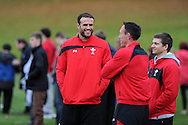 Jamie Roberts (l) looks on. Wales rugby team training at the Vale, Hensol, near Cardiff in South Wales on Tuesday 13th November 2012.  pic by Andrew Orchard, Andrew Orchard sports photography,