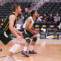 Cougars Men's Volleyball in action during the Women's Volleyball Home Game vs U of C Dinos on October21 at the CKHS University of Regina. Credit Arthur Ward/©Arthur Images 2017