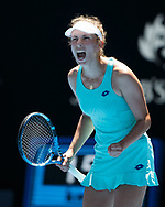 ELISE MERTENS (BEL) macht die Faust und jubelt,Jubel,Emotion,<br /> <br /> Tennis - Australian Open 2018 - Grand Slam / ATP / WTA -  Melbourne  Park - Melbourne - Victoria - Australia  - 23 January 2018.
