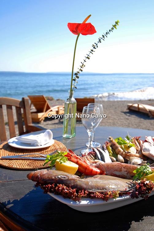 Assorted fresh crayfish on the table of a coastal ibizan restaurant called Sa Escollera, in Ibiza, Balearic Islands, Spain - Photo by Nano Calvo - VWPics.com