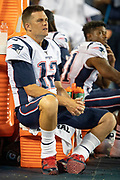 NASHVILLE, TN - AUGUST 17:  Tom Brady #12 of the New England Patriots on the sidelines during a game against the Tennessee Titans during week two of the preseason at Nissan Stadium on August 17, 2019 in Nashville, Tennessee.  The Patriots defeated the Titans 22-17.  (Photo by Wesley Hitt/Getty Images) *** Local Caption *** Tom Brady