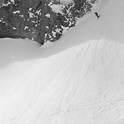 Andrew Whiteford skis a line called Talk to Central off of Cody Peak in the Jackson sidecountry to JHMR.