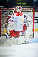 KELOWNA, CANADA - NOVEMBER 9: Alexander Trushkov #30 of Team Russia warms up against the Team WHL on November 9, 2015 during game 1 of the Canada Russia Super Series at Prospera Place in Kelowna, British Columbia, Canada.  (Photo by Marissa Baecker/Western Hockey League)  *** Local Caption *** Alexander Trushkov;