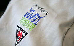 Sign on the bag of Slovenian Olympic Team at departure to Beijing 2008 Olympic games, on July 31, 2008, at Airport Jozeta Pucnika, Brnik, Slovenia. (Photo by Vid Ponikvar / Sportal Images)/ Sportida)