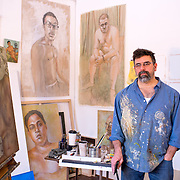 Joe Radoccia in his studio Portraits of Artists and Performers in Metro New York Area
