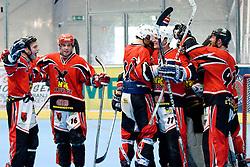 Team HK Prevoje celebrating victory at IZS Masters 2010 inline hockey final match between HK Prevoje and Kavke Kranj, on June 12, 2010, in Ice Hall, Kranj, Slovenia. (Photo by Matic Klansek Velej / Sportida)