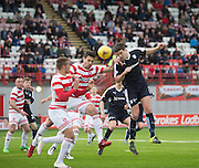 Dundee&rsquo;s Darren O&rsquo;Dea competes in the air with Hamilton&rsquo;s Lucas Tagliapietra - Hamilton v Dundee, Ladbrokes Scottish Premiership at New Douglas Park<br />  <br />  - &copy; David Young - www.davidyoungphoto.co.uk - email: davidyoungphoto@gmail.com