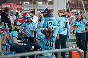 Dejected England players after the Royal London Women's One Day International match between England Women Cricket and Australia at the Fischer County Ground, Grace Road, Leicester, United Kingdom on 4 July 2019.