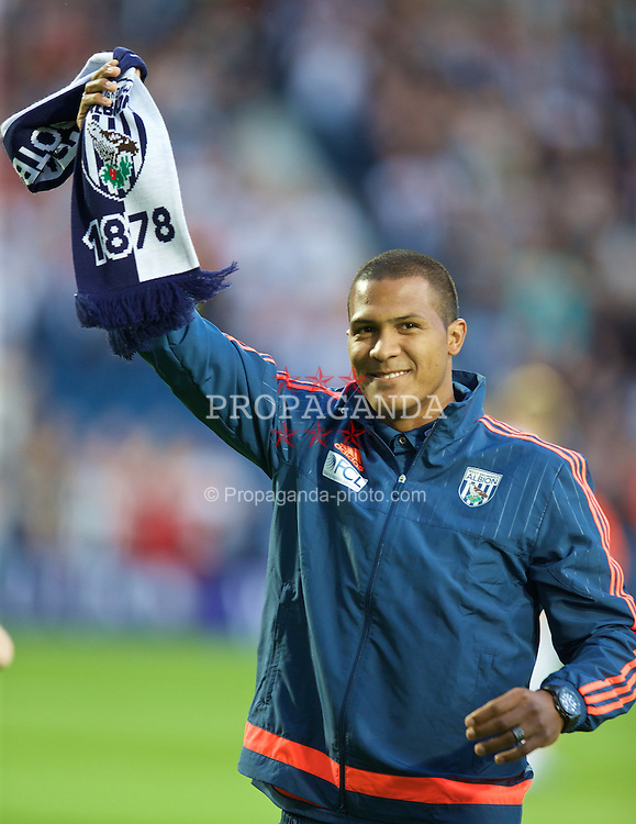 WEST BROMWICH, ENGLAND - Monday, August 10, 2015: West Bromwich Albion's club-record signing Venezuela international Salomon Rondon from Zenit St Petersburg waves to the crowd before the Premier League match at the Hawthorns. (Pic by David Rawcliffe/Propaganda)