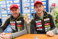 Coach Uros Velepec and Third placed Jakov Fak at press conference of Slovenian biathlon team after the 46th IBU Biathlon World Championships in Nove Mesto na Morave in Czech Republic , on February 18, 2013 in Ljubljana, Slovenia. (Photo By Vid Ponikvar / Sportida)